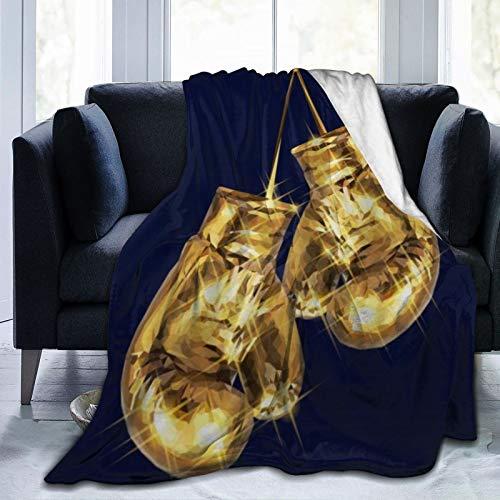 AIMILUX Flanell Fleece Soft Throw Decke,Gold Boxhandschuhe,für Sofas Sofa Stühle Couch Leicht,warm und gemütlich 127x102cm