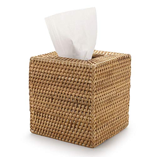 YANGQIHOME Caja de pañuelos de Mimbre Cuadrada, Caja de Pañuelos de Papel de Ratán para Decoración Hogar y Oficina,14,5 x 14,5 x 14,5 cm, Amarillo