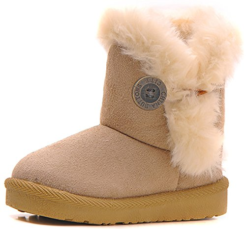Poppin Kicks Girls Bailey Button Snow Boots Kids Winter Faux Fur Flat Shoes Beige 9.5 M US Toddler