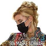 50x DECADE® Mund und Nasenschutz SCHWARZ Einweg Maske  Einmal-masken Mundschutz   Einwegmasken Schwarz   3lagige Mundschutz Maske - Atemschutzmaske Face Mask BLACK