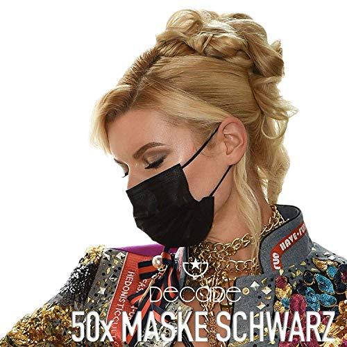 50x DECADE® Mund und Nasenschutz SCHWARZ Einweg Maske |Einmal-masken Mundschutz | Einwegmasken Schwarz | 3lagige Mundschutz Maske - Atemschutzmaske Face Mask BLACK