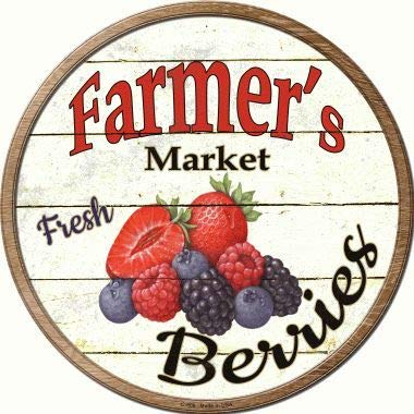 Bargain World Farmers Market Berries Novelty Metal Circular Sign (Sticky Notes)