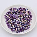 3/4/6/8 / 10mm Color AB Media espalda Perlas redondas Perlas Scrapbook de imitación acrílica para arte de uñas Tarjetas de boda artesanales, amatista ab, 500p 6 mm