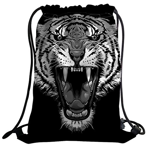Violetpos Coutume Mode Unisexe Sac de Gym Sac à Dos Sac de Sport Gym Bag Cool Tiger heulen Noir