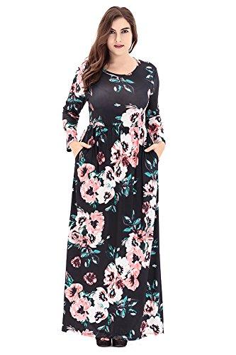 ZhuiKun Vestidos de Mujer Largo Vestido Fiesta Playa Estampado Floral Tallas Grandes Vestidos Negro 2XL