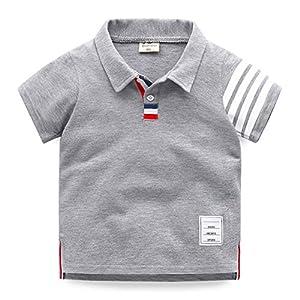 Elfin Parkキッズ シャツ 男の子 半袖 襟付き ポロシャツ 子供 ボーイズ ボーダー Tシャツ 男児 子供シャツ 綿 トップス 通園 通学 夏物 カジュアル グレー 110