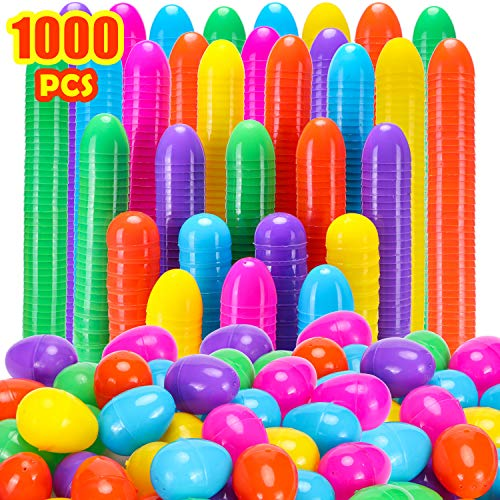 """GABOSS 1000 Count Plastic Easter Eggs,2.4"""" Fillable Easter Eggs for Easter Hunt,Basket Stuffers Fillers,Theme Party Favor Decoration,Classroom Prize Supplies-Assorted Colors"""