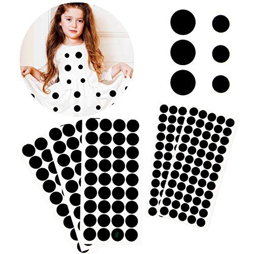 Iceyyyy 200+ Pieces Black Adhesive Felt Circles, Black Self-Adhesive Felt Sticker for Halloween DIY Projects, Professional Craft Finishing (0.5 and 0.75 Inch)