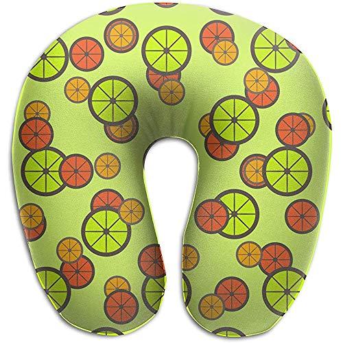 Marlon Kitty Memory Foam-Nackenkissen Citrus-Schnittmuster U-Form-Reisekissen Ergonomisch geformtes Design Waschbarer Bezug