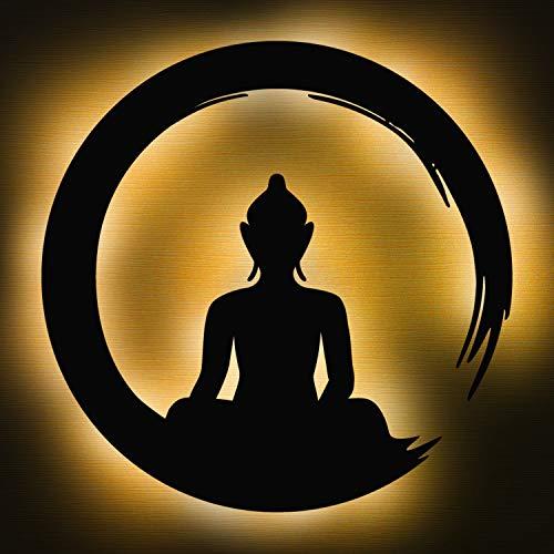 Elbeffekt Budda Lampe aus Holz- personalisierbares Geschenk für Frauen und Männer - Schlafzimmer Deko - personalisierbar zum Hinstellen/Aufhängen - Buddha Deko - persönliches Geschenk
