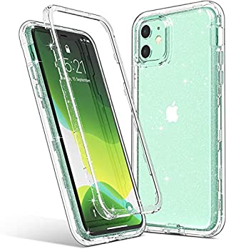 ULAK Compatible with iPhone 11 Case Clear Glitter Hybrid 3 in 1 Shockproof Protective Phone Case Designed for Women Girls Premium Bumper Cover for iPhone 11 6.1 inch Sparkle