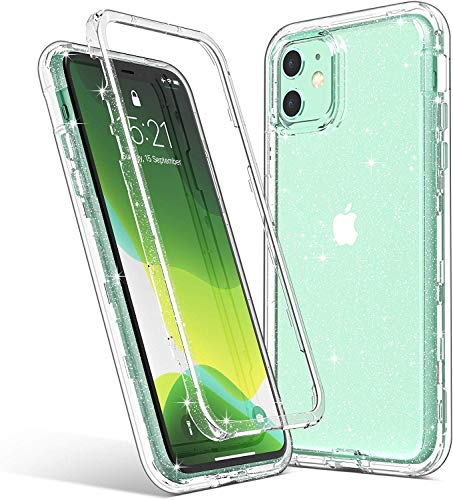 ULAK Compatible with iPhone 11 Case Clear Glitter, Hybrid 3 in 1 Shockproof Protective Phone Case Designed for Women Girls, Premium Bumper Cover for iPhone 11 6.1 inch, Sparkle