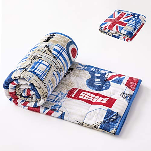 Weighted Blanket for Kids Children 5lb 36x48 Inches Soft Cozy White Blue Heavy Blanket with Glass Beads Baby Toddler Comforter, Fleece and Cotton British Style Vintage Lindon Icons Flag Twin Size Bed