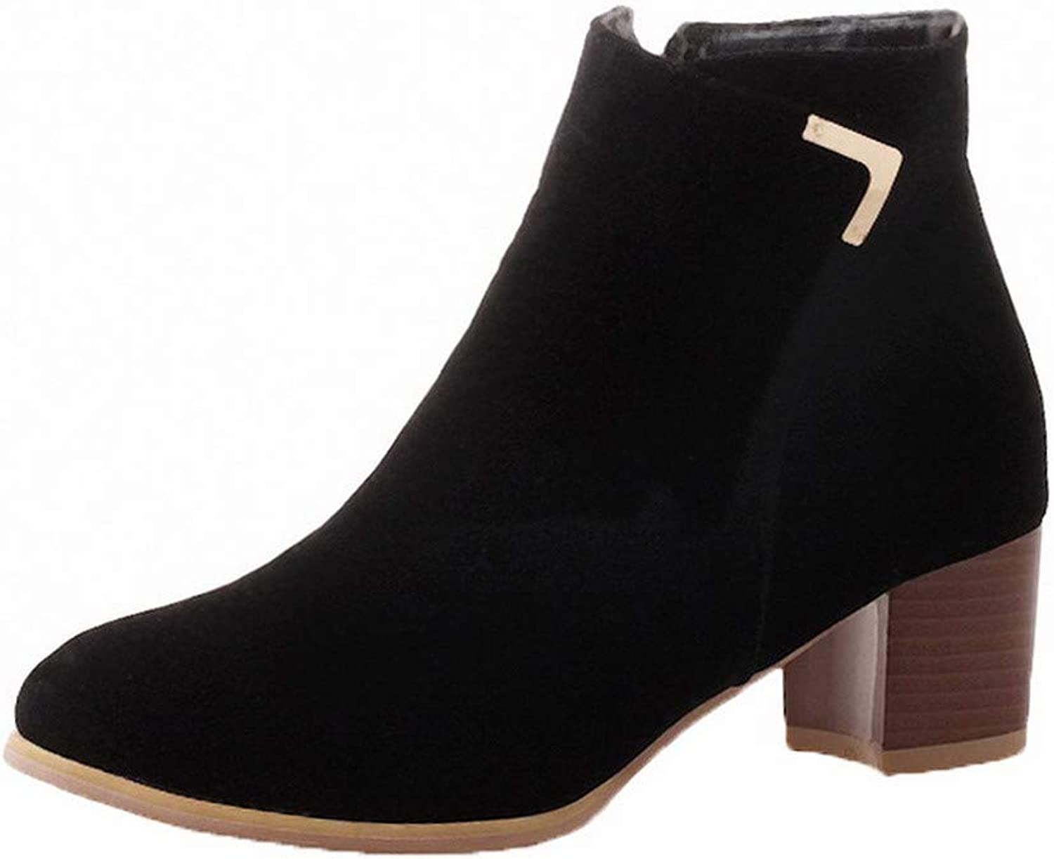 AmoonyFashion Women's Solid Kitten-Heels Round-Toe Imitated Suede Zipper Boots, BUSXT125557