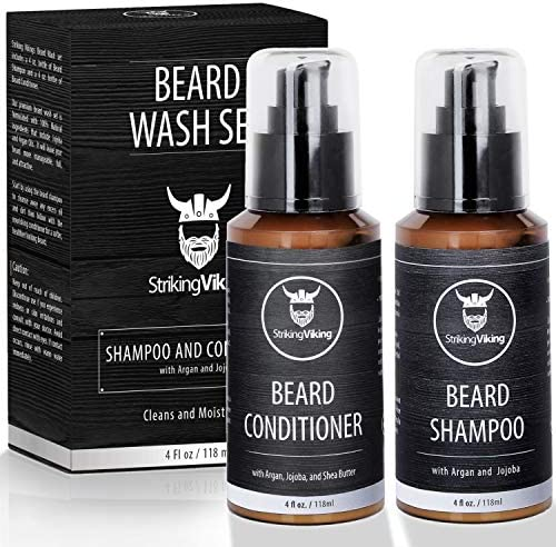 Beard Wash Shampoo and Conditioner Set for Men Cleanse and Softens with Shea Butter Argan and product image