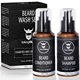 Beard Wash Shampoo and Conditioner Set for Men - Cleanse and Softens with Shea Butter, Argan and Jojoba Beard Oils, Sulfate Free & Paraben Free, Pack of 2, Striking Viking