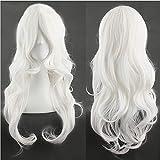 24'(60cm) Peluca Blanca Larga con Flequillo para Mujer Pelo Natural Pelucas Sintéticas Rizadas Resistente al Calor para Cosplay Disfraces Anime y Fiesta (Blanco)