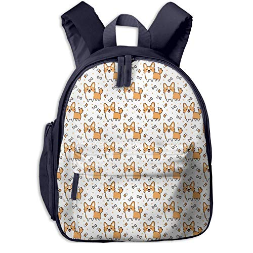 XCNGG Kids Backpack 3D Cute Pattern with Dog Breed Welsh Corgi Preschool Kindergarten Bags Rucksack Casual Daypack for Children Toddler Girls Boys Navy