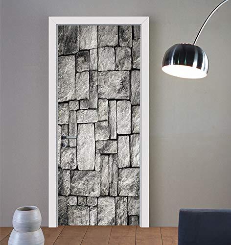 HNXSL Türaufkleber Schwarz-Weiße Steinwandfliesen 3D Türaufkleber Kreativhaus Aufkleber Schlafzimmer Wohnzimmer Flur Tür Dekorative Türdekoration 77 * 200cm