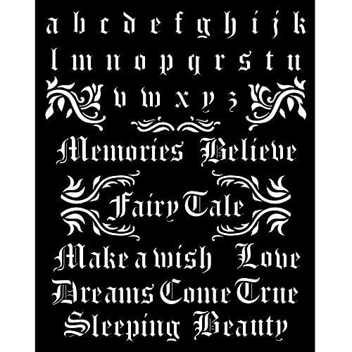 Stamperia International Thick Stencil-Sleeping Beauty Alphabet and Quotes Plantilla Gruesa – Alfabeto y Citas de la Bella Durmiente, Varios, 20 x 25 cm