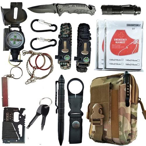 16 en 1 Profecional Kit de Supervivencia,para Viajar Caminar Acampar al Aire,con Manta de Emergencia y Multifuncional Bolsa de Supervivencia de Emergencia (3)