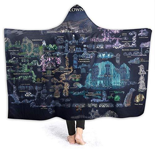 Hollow Knight Map Manta con capucha ultra suave para adultos, capa adecuada para ver TV en la cama o el sofá