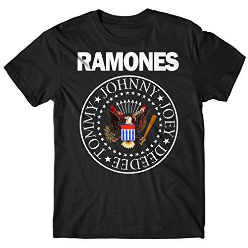 LaMAGLIERIA Camiseta Hombre Ramones - Classic Colors Logo Camiseta Rock 100% algodòn, S, Negro