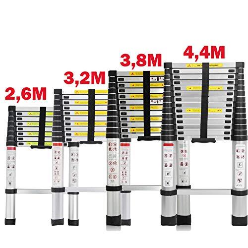 Teleskopleiter 2,6M/3,2M/3,8M/4,4M Rutschfester Aluleiter Schiebeleiter Sprossenleiter, aus hochwertigem Aluminium, Ausziehleiter Teleskop-Design Mehrzweckleiter max 150 kg Belastbarkeit