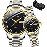 OLEVS His and Her Couple Watches Business Men Women Couple Set Pair Black Watch Matching Romantic Quartz Stainless Steel Waterproof Date