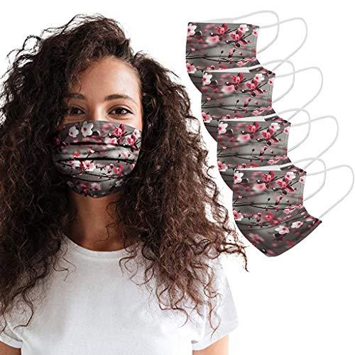SH07 4PCS Mundschutz-Masken Waschbar Wiederverwendbar Bunt Mundschutz mit Motiv Baumwolle Mund und Nasenschutz Halstuch Behelfsmaske Multifunktionstuch Gesichts_Maske Alltagsmaske (Kaffee)