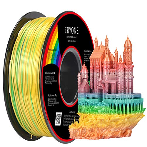 Eryone Silk Mini Rainbow PLA 3D Printer Filament 1.75mm, Dimensional Accuracy +/- 0.05 mm, 1kg (2.2LBS) / Spool