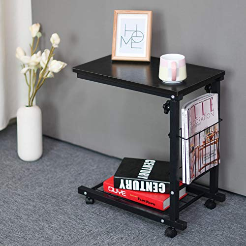 End Table Sofa Table Coffee Table Snack Storage Table C Shaped Side Table with Wheels for Home Living Room Office,Black