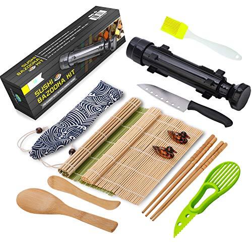 Sushi Making Kit, All In One Sushi Bazooka Maker with Bamboo Mats, Bamboo Chopsticks, Avocado Slicer, Paddle, Spreader, Sushi Knife, Chopsticks Holder, Cotton Bag, DIY Sushi Roller Machine