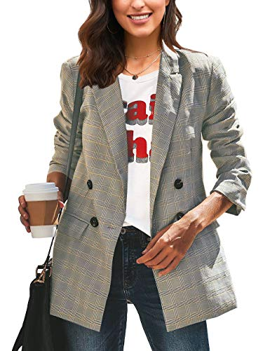 Roskiky Women's Notched Lapel Collar Double-Breasted Blazer Pocket Long Outerwear Plaid Size S