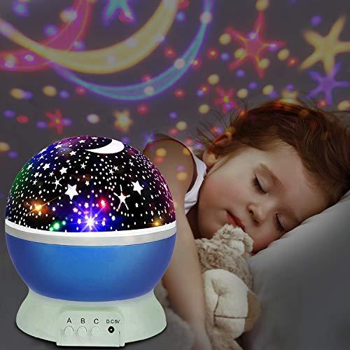 Proyector lámpara estrellas,UBEGOOD Estrella Luz Noche 360 Grados Rotación Lámpara Noche 4 Modo Luz para Niños Iluminación Romántica Cosmos Proyección Luz Nocturna Bebés Regalos de la Navidad-Azul