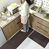 Moozic Küchenteppich -rutschfest Teppichläufer - Waschbar Küchenläufer - Pflegeleichte Teppich Küche - Vorleger Teppich - 40 x 120 cm / 40 x 60 cm 2 Stück,Braun