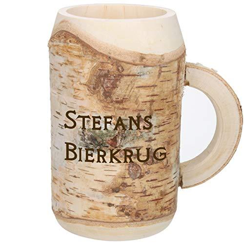 Holz-Bierkrug mit Gravur Namen 0,5l, Handgefertigtes Unikat Dekoration Personalisierter Holzkrug mit Gravur Ausgefallenes Ostergeschenk für Männer zu