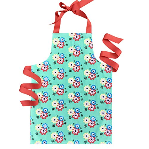 Colorful Green Floral Art Craft or Baking Apron Gift for Tween Girls