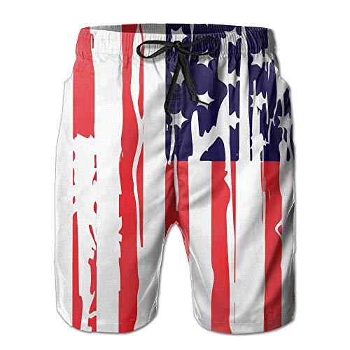 Doormats-shirt American Flag Independent Day Herren Trainings- und Badehose, schnelltrocknend, Strandshorts Gr. L/XL, weiß