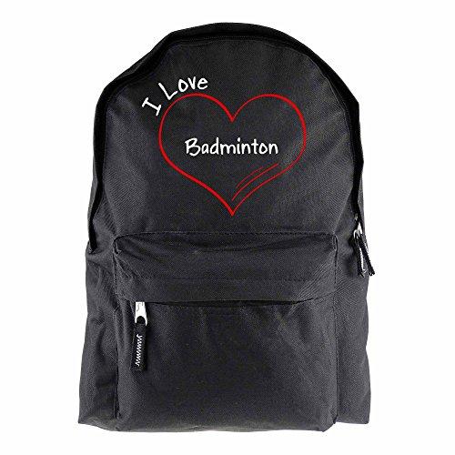 Rugzak modern I love badminton zwart - grappig grappig spreuken party tas