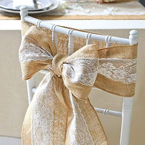 """LIUNIAN 5PCS Écharpes de chaise de toile de jute,Ruban de nœud de couverture de chaise de jute de Hesse naturel avec de la dentelle pour mariage, banquet, décorations de fête, 6""""x 94"""""""