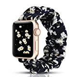 WONMILLE Scrunchie Elastic Watch Band Compatible with Apple Watch Band 38mm 40mm, Women Girls Cloth Elastics Hair Wristbands Replacement for iWatch Series 1 2 3 4 5 (Chrysanthemum, 38mm/40mm)