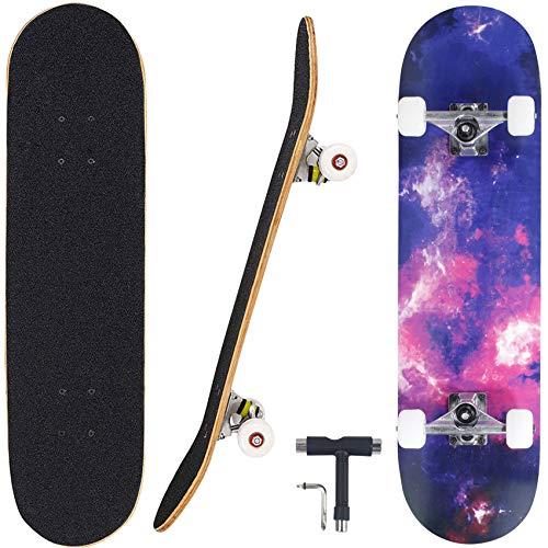 """Seasonland Skateboard 7 Layers Decks 31""""x8"""" Pro Complete Skate Board Maple Wood Longboards for Teens Adults Beginners Girls Boys Kids (Time)"""