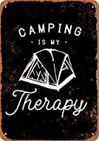ヴィンテージ金属サインキャンプは私の治療法ですホームウォール装飾