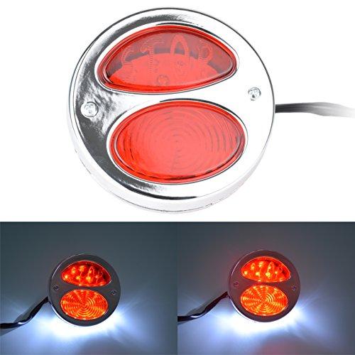 TUINCYN Moto Rond LED Queue de Frein et Argent Clair Arrêt Lampe sans Témoin Lumineux Fer Arrière Mounts