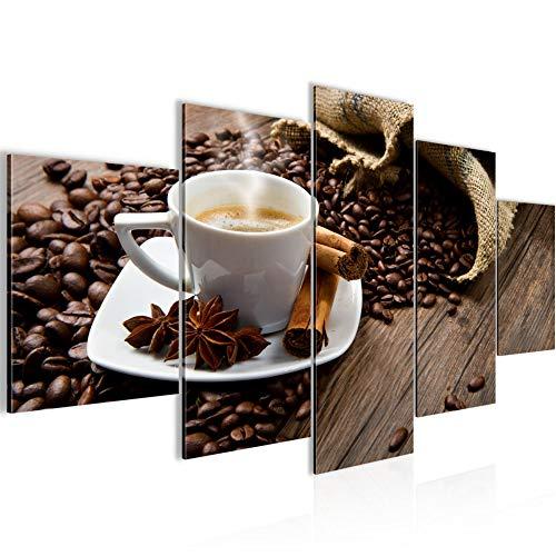Küche Kaffee Bild Vlies Leinwandbild 5 Teilig Coffee Braun Schlafzimmer Flur 501853a