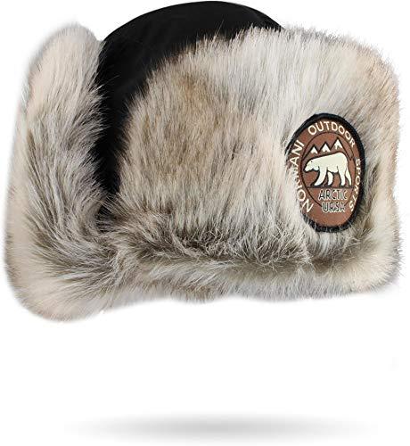 normani Damen und Herren Wintermütze Tschapka Uschanka Polarmütze mit Ohrenklappen Farbe Schwarz Größe XXL/63