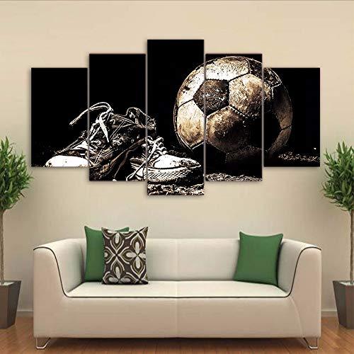 xzfddn Modular PosterHd Gedruckt Bilder Home Decor 5 Panel Alten Fußball Und Schuhe Malerei Wandkunst Moderne Leinwand Wohnzimmer