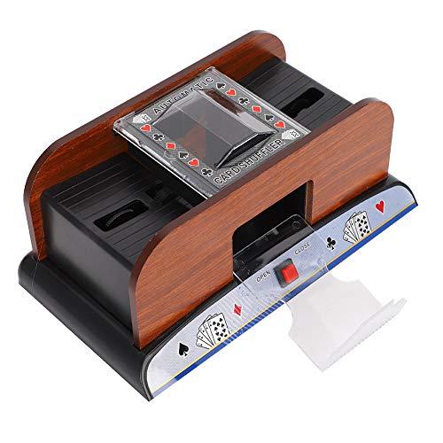 Jacksking Kartenmischer Holz Automatischer Kartenmischer Spielkartenmischer, Pokerkartenmischer, Kartenmischmaschine 2 Deck Poker Party Spiel Kartenmischer, für Zuhause oder Club