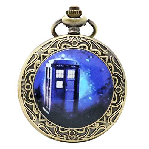 Herren Taschenuhr, Film Doctor Who blau Telefon Booth Taschenuhr, für Herren, Classic Zeit Reisen, Quarz Taschenuhr